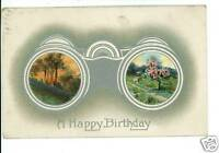 HAPPY BIRTHDAY BINOCULARS 1912  POSTCARD