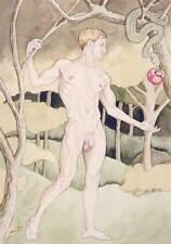 boy, homme nu, watercolor print nude male Adam gay interest