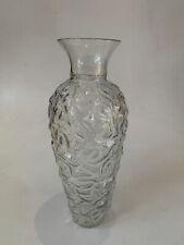 "Blenko Hand Blown 18"" Textured clear Tall Vase Designed by Hank Adams"