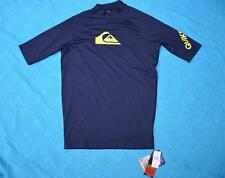 Quiksilver All Time SS Rash Vest-navy/lime Trim Size L Gr8 Rashie New-