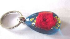 Real Flower Red/Yellow with Blue Background Key Chain LUCITE ACRYLIC RESIN Boxed