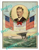 OLD POSTCARD SIZE AVIATION POSTER CHARLES LINDBERGH RECORD FLIGHT 1927 1