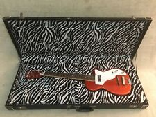Deluxe Zebra Lined Hardshell Case Fits Eastwood Airline H44 /No Guitar CASE ONLY