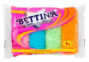 Bettina 4 Pack Bath Sponges - For Use In Bath , Shower, Scrub or Clean