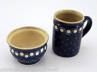 Kohrener Keramik Töpferei Dose & Henkelbecher blau mit weissen Punkten