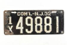 Vintage 1932 New Jersey Commercial License Plate #49881 Original (V3891)