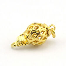 10mm Jewelry DIY 1-Strand Yellow Gold Plated Fillgree Hollow Ball Box Clasp 10Pc
