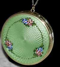 Stunning Antique STERLING Hand Painted Green ENAMEL GUILLOCHE Compact Necklace