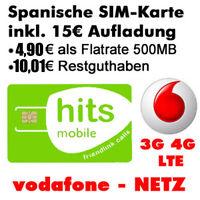Prepaid Sim Karte Spanien, Internet 3G+, aktiviert incl. 650MB, Vodafone Netz