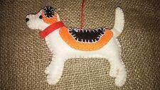 Handmade BEAGLE DOG felt xmas tree decoration NEW shabby chic hound