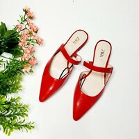 NWT Zara Red Flat Mules Ref 6518/001 AW19
