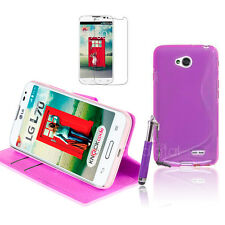 PURPLE Wallet 4in1 Accessory Bundle Kit Case Cover For LG L70