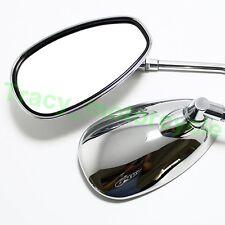 Chrome Aluminum Oval Rearview Mirrors For Motorcycle Honda Kawasaki Ducati 10mm