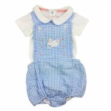 Baby Boden Boys 3 6 months Gingham Bunny Romper Bodysuit Blue Plaid Dressy