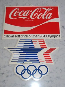 VINTAGE 1984 LOS ANGELES OLYMPICS COCA COLA SPONSOR POSTER ADVERTISING SIGN