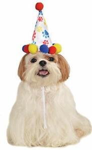 Rubie's Pet Birthday Hat, Medium to Large, Boy Paw Print