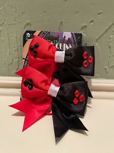 NEW Harley Quinn Bioworld DC Comics Red and Black Hair Bow Clip Set of 2 Bows