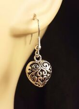 Filigree Patterned Hollow Tibetan Silver Heart Dangle Earrings