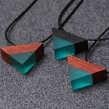 Colored Women/Men Necklace Triangle Sandalwood Resin Wood Pendant