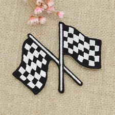 Cool Chequered Flag Iron On Patches Checkered Car Racing Rock Handmade DIY Craft