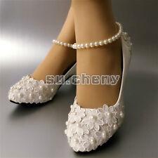 """Su.cheny 2"""" 3"""" de Cuña Encaje Blanco Perlas Zapatillas Zapatos Novia Boda Talla"""