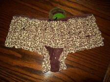 NWT HONEYDEW ANIMAL MESH RUMBA BOYSHORT PANTIES 007 BROWN S
