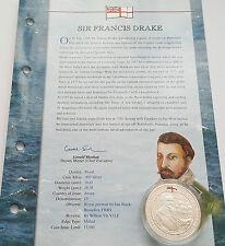 2003 Jersey Sir Francis Drake History Royal Navy £5 POUND Silver Proof Coin+ COA