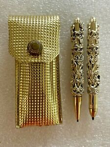 Vintage Miniature Ornate Pen & Pencil Set In Original Case - Checkbook Set