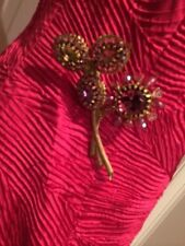 Large crystal flower pin & earrings in hot pink, purple & gold 18-kt gold finish
