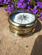 Boussole marine en laiton patiné gravée Stanley London diametre 6cm