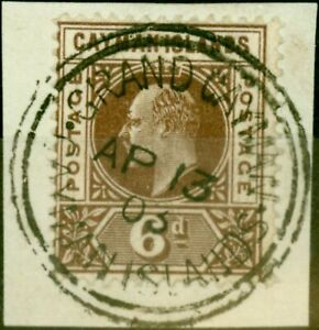 Cayman Islands 1902 6d Brown SG6 Superb Used on Piece