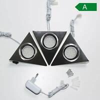 LED Unterbaustrahler 3er Set Küchenbeleuchtung Küche Dreiecksleuchten Edelstahl