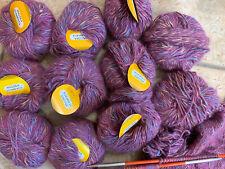10 plus Skeins Angora Stampata Purples Tweed Yarn Angora Cotton Wool Polyamid