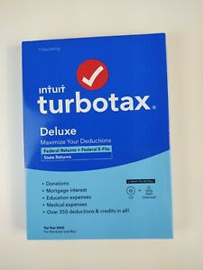 Intuit TurboTax Deluxe Federal E-File & State Returns 2020 Tax Year Windows Mac