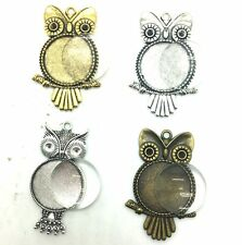12 Sets 25mm Base Cameo Setting Owl Charm Pendant Tray + Matching Glass Cabochon