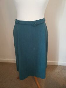 Size 14 Turquoise Blue A Line Vintage 1980s M&S St Michael Midi Skirt Made In UK