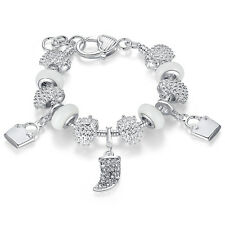 Wostu European 925 silver Charms Bracelet With White CZ Beads For Women Gift
