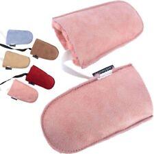 Childrens Babies Soft Genuine Sheepskin Mittens Puddy Mitts Pink Blue Burgundy