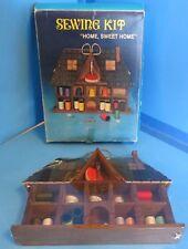 Vintage Wood Home Sweet Home Sewing Set Kit Accessories Holder