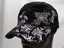 GOTHIC CROSS - BLACK - CADET STYLE ADJUSTABLE STRAPBACK CAP HAT!