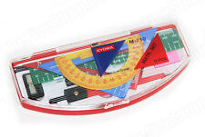 GEOMETRY TOOLS 10 PCS RULERS, PROTRACTOR, COMPASSES, PENCIL SET - U.S. SELLER