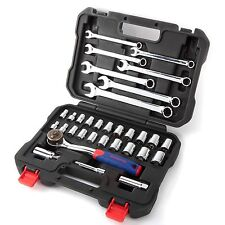 "WORKPRO 32PC Metric SAE Sockets Wrench Set CR-V 3/8"" Ratchet Dual Drive Handle"