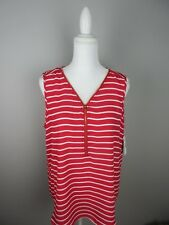 Directions Women's Size XL Red and White Stripe Sleeveless Gold ZIPPER Top