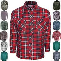 MENS PADDED LUMBER JACK SHIRT CHECK QUILTED THICK FLEECE LINED WORKWARM WINTER