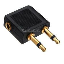 2 pcs 3.5mm Airline Airplane Earphone Headphone Headset Jack Audio Adapter