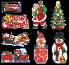 New Christmas Metallic Effect Light Up Window Silhouette Lights Mains Powered