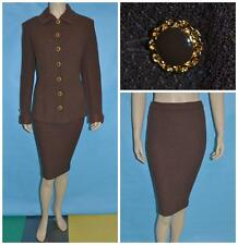 St John Knit Collection Dark Brown Jacket Skirt XL L 12 14 2pc Suit Gold Buttons