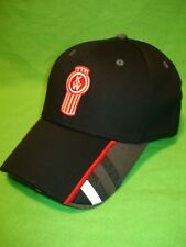 Kenworth Hat:     Black, Stripe Bill Truckers Cap    *FREE SHIPPING IN U.S.A.*