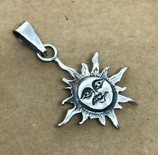 Mexican Taxco 925 Silver Oxidized Etched Smiling Happy SUN FACE Pendant Charm