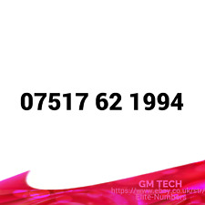 07517 62 1994 EASY MOBILE NUMBER PAY AS YOU GO SIM CARD UK GOLD PLATINUM VIP